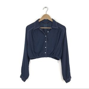 Zara Navy Blue Long Sleeve Button Down Crop Top M